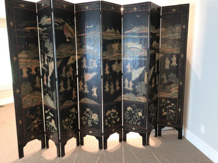 Antique Chinese coromandel room divider screen c1850