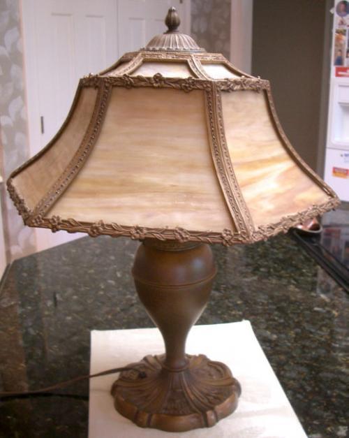 price my item value of victorian slag glass table lamp c1900. Black Bedroom Furniture Sets. Home Design Ideas