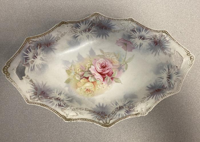 R S Prussia porcelain bowl with tapestry texture