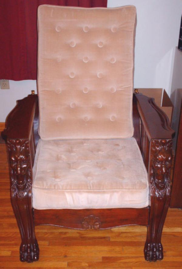 Antique Victorian Lions Head Mahogany Morris Chair