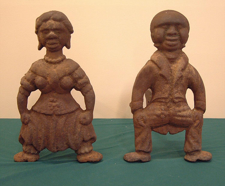 American cast iron Black Folk Art Andirons c1850