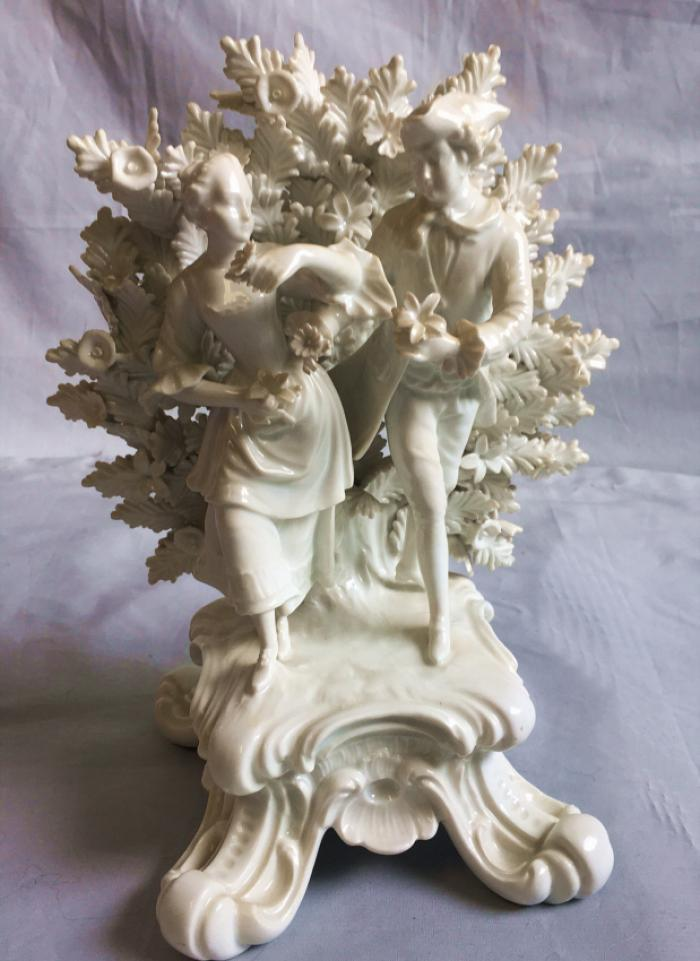 Antique porcelain lovers in a bower c1900