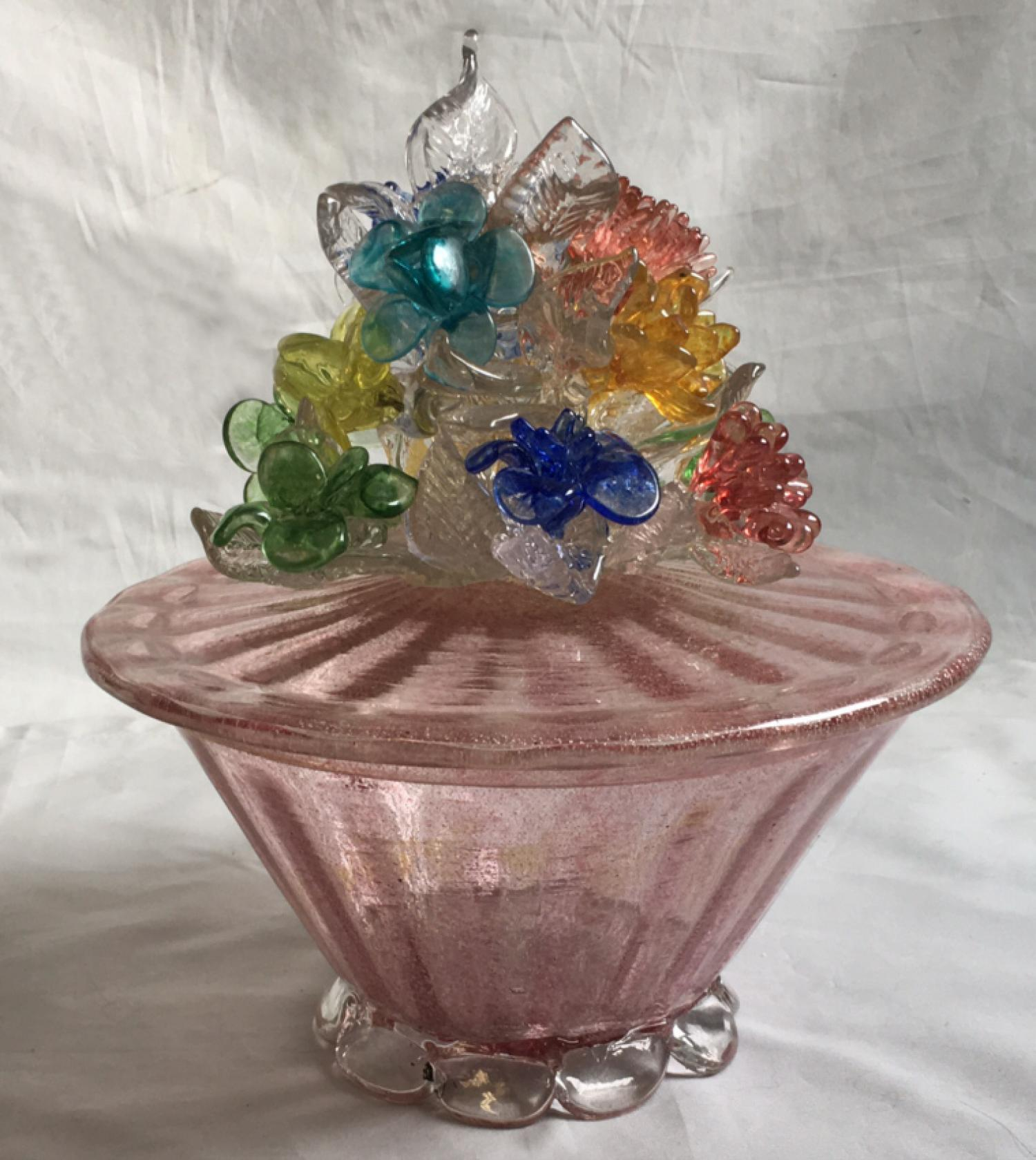 Vintage Murano glass covered compote c1940