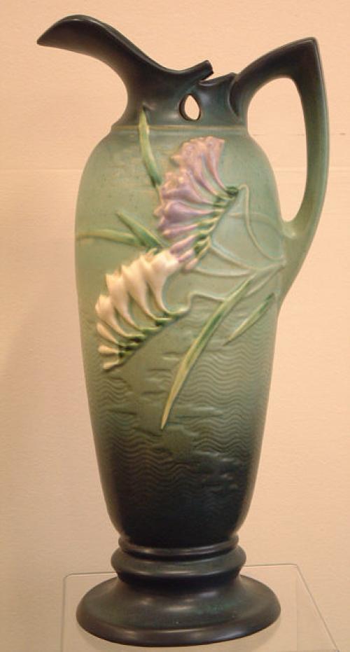 Roseville Pottery Freesia Ewer vase c1945