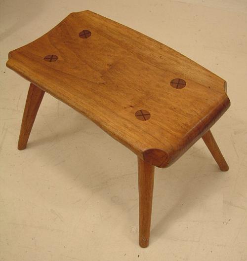 Modern movement walnut footstool c1950