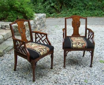 Image of Pair Chinese Rosewood arm chairs c1900