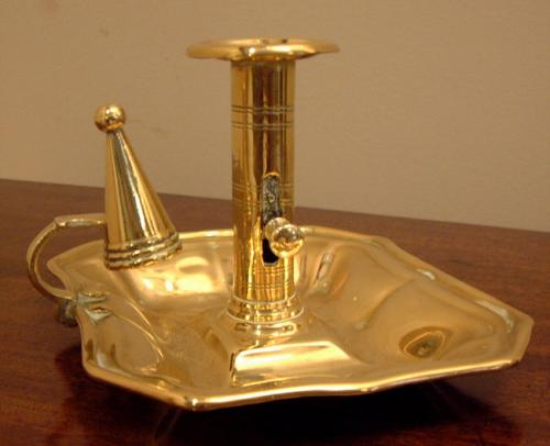 English Brass candlestick holder with snuffer c1800