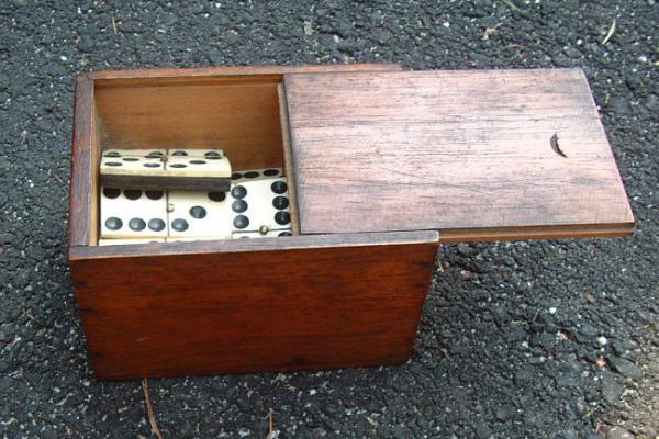 Antique Domino set ivory ebony c1820