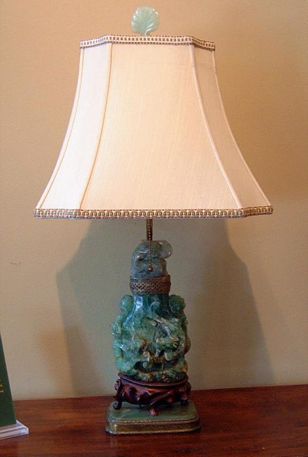 price my item value of carved green crystal chinese mounted urn lamp. Black Bedroom Furniture Sets. Home Design Ideas