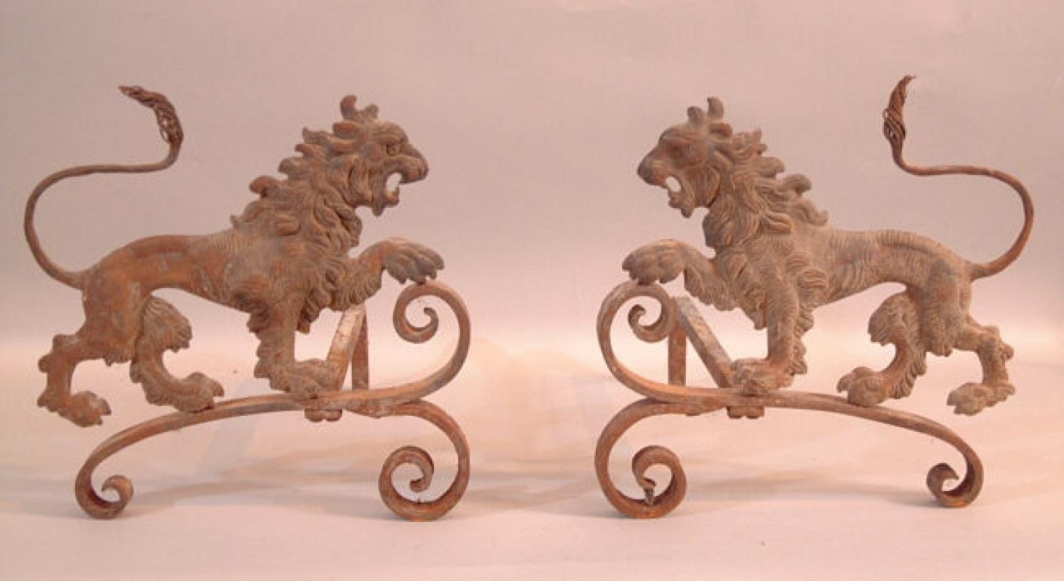 Antique pr Lion fireplace andirons c1900