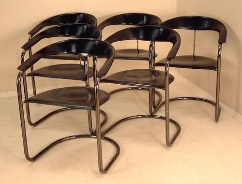 Canasta Italian Armchairs by Arrben snc Italy set of 6 Leather Bound