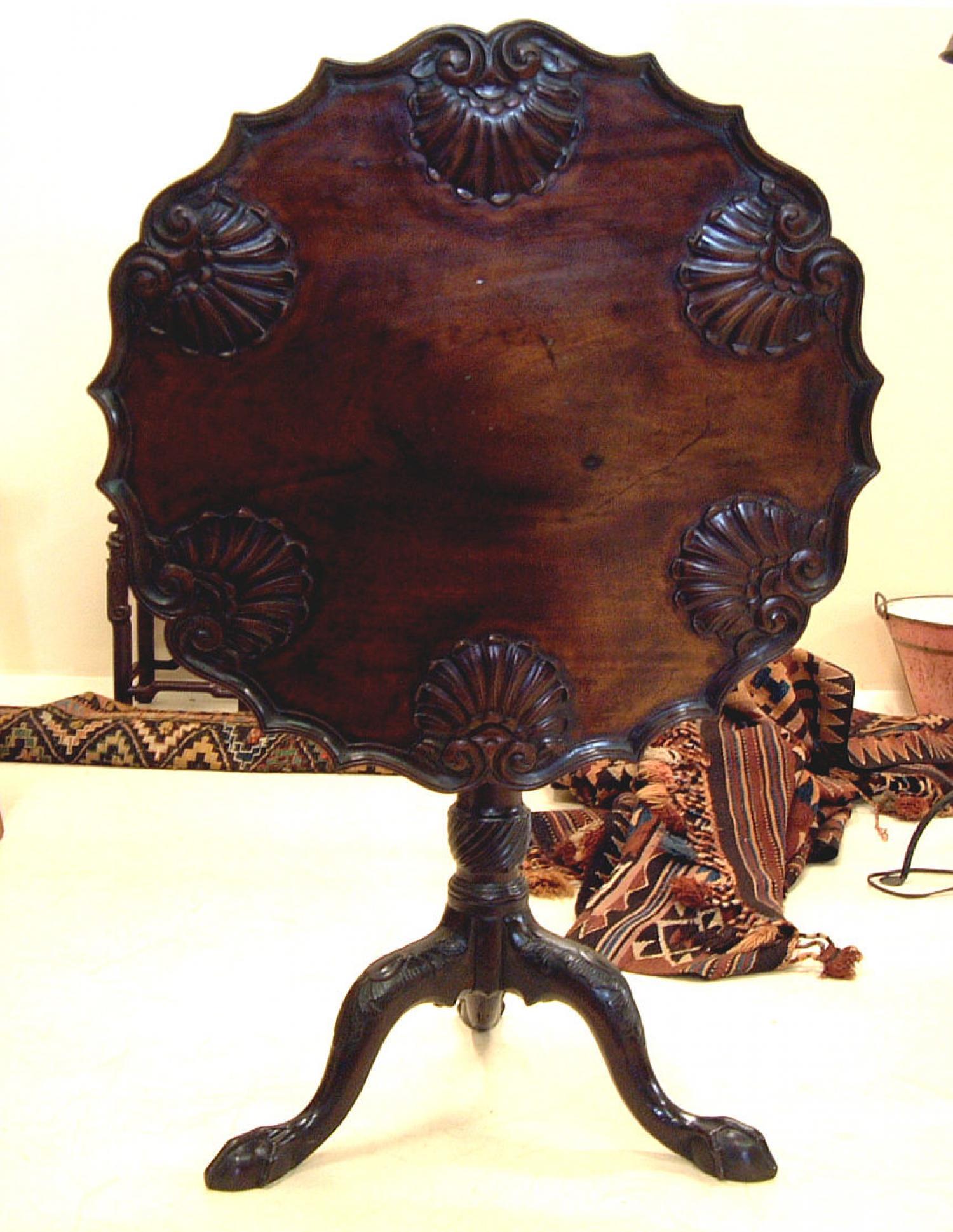 Georgian period shell carved tea table c1770