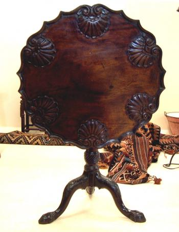 Image of Georgian period shell carved tea table c1770