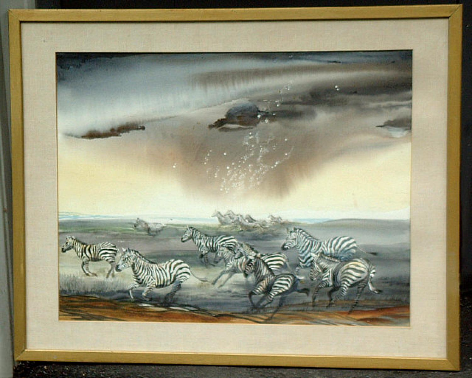 Hilda Levy signed watercolor of Zebras in African landscape