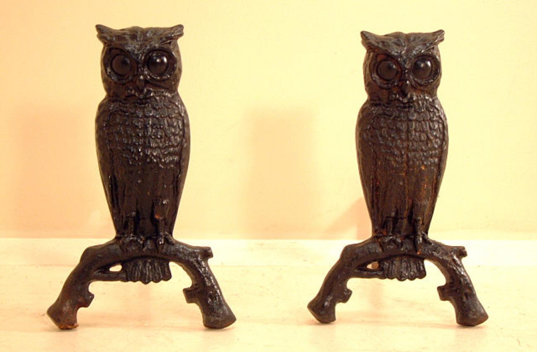 Victorian Cast Iron Owl fireplace andirons c1890