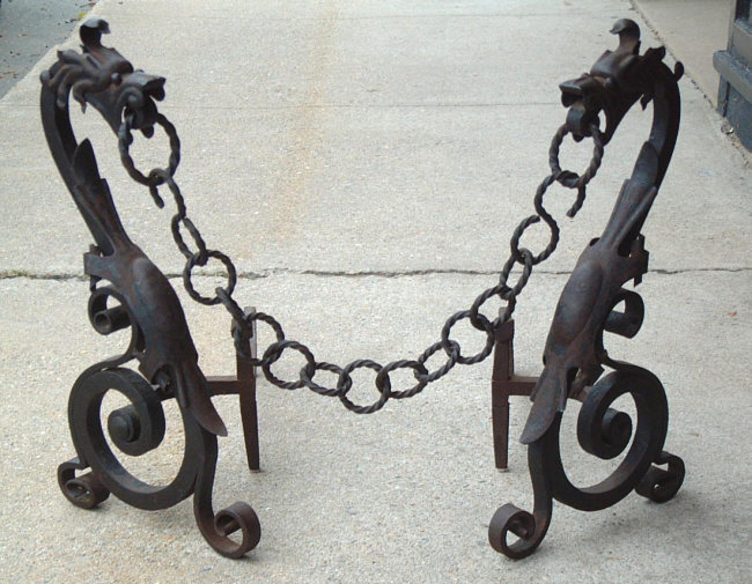 Antique Dragons with chains fire place andirons c1900