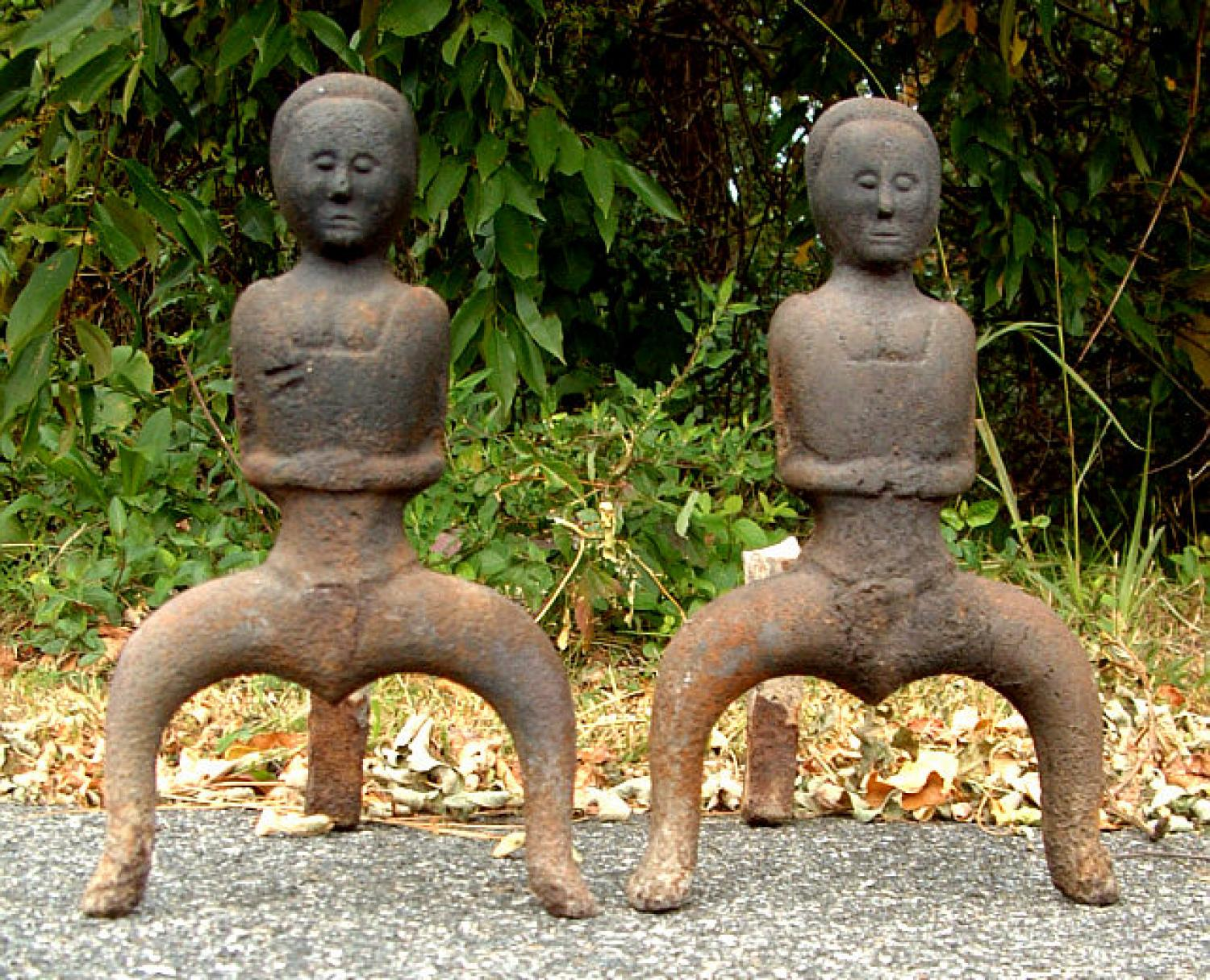 Antique Risque Female Cast Iron Andirons