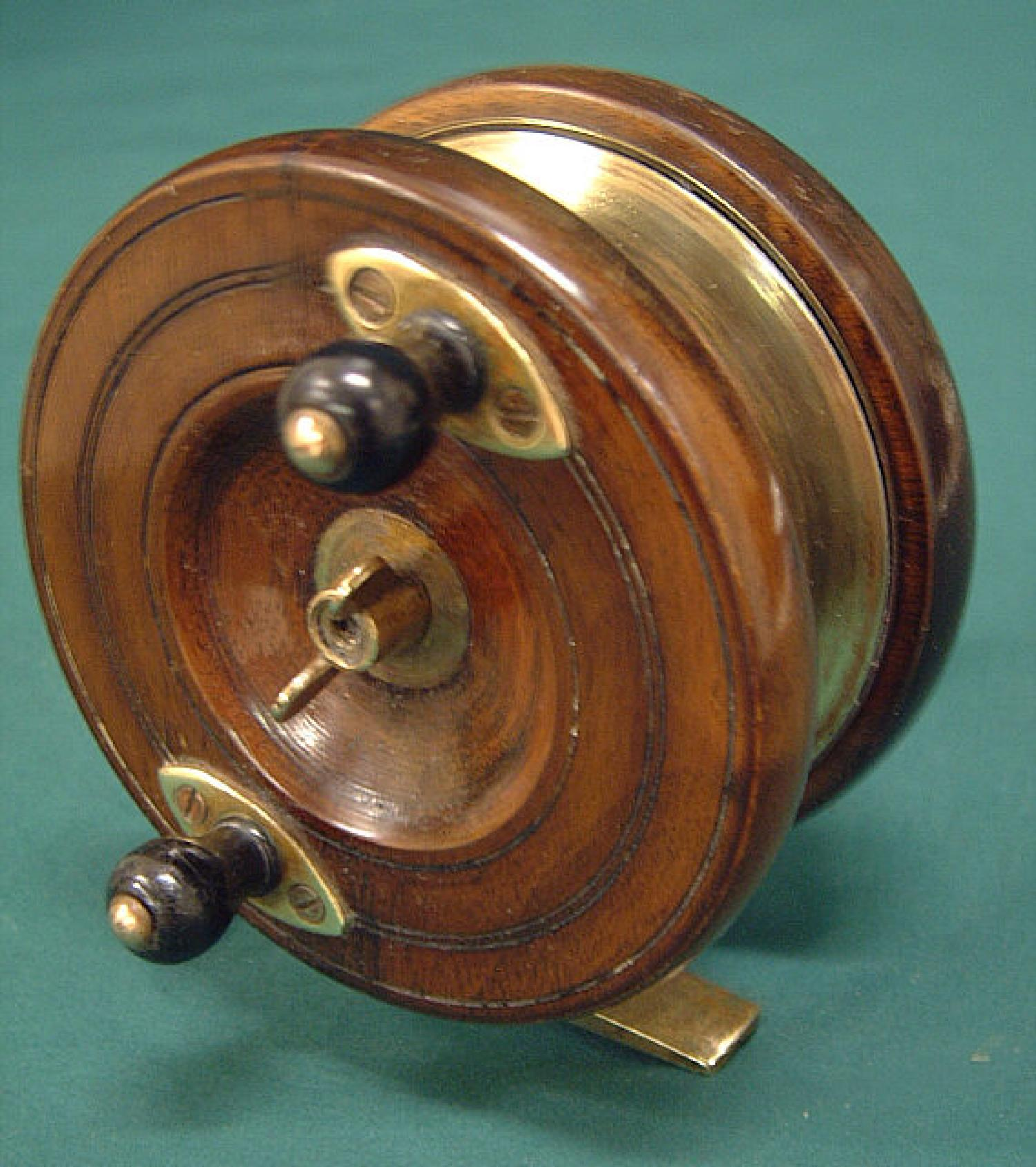 Antique wood and brass fishing reel c1880 for Antique fishing reels