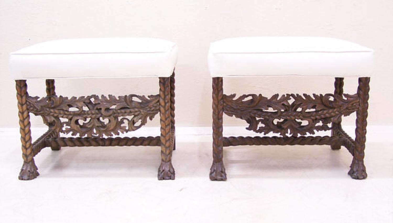 Walnut Italian carved 17th century window benches