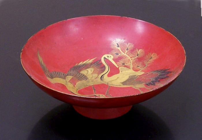 Japanese red lacquer wedding dish with cranes