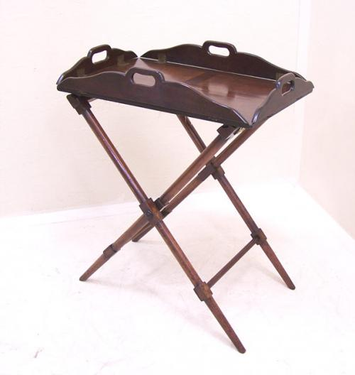 Antique English mahogany butlers serving tray and stand