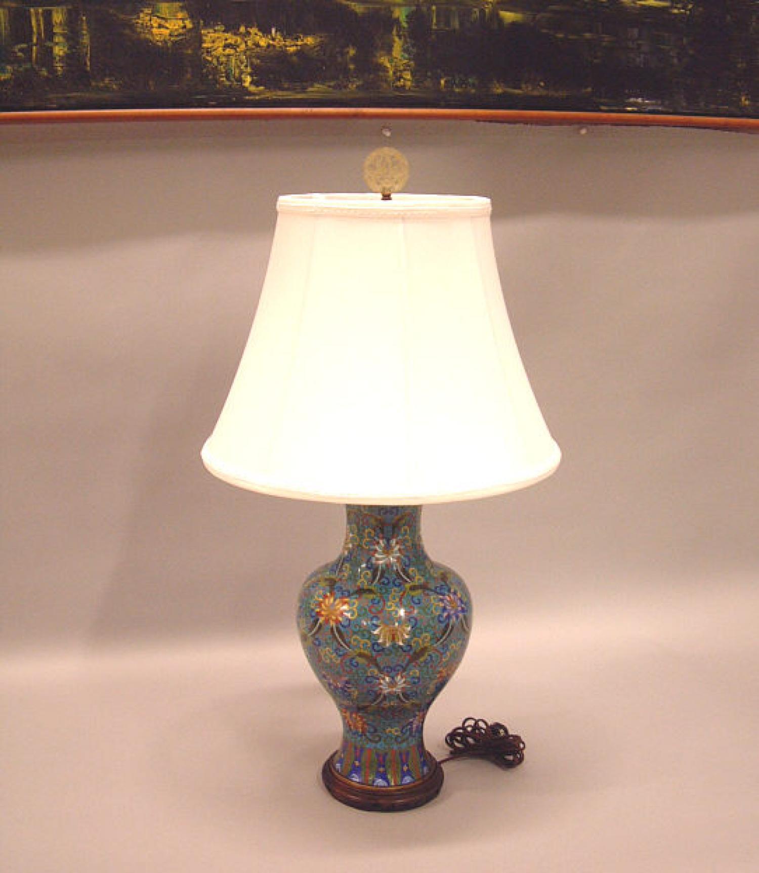 Antique Chinese Cloisonne vase lamp