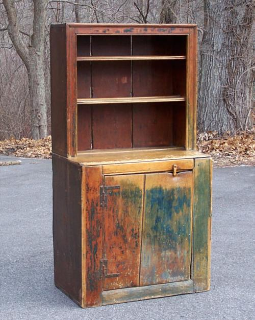 American Country painted Conn stepback cupboard 1750