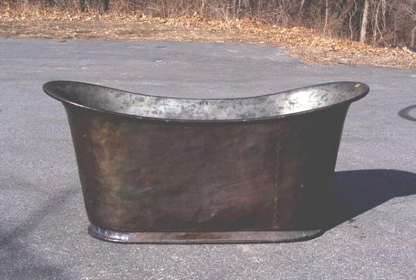 Early French Solid Copper Bath Tub C1800