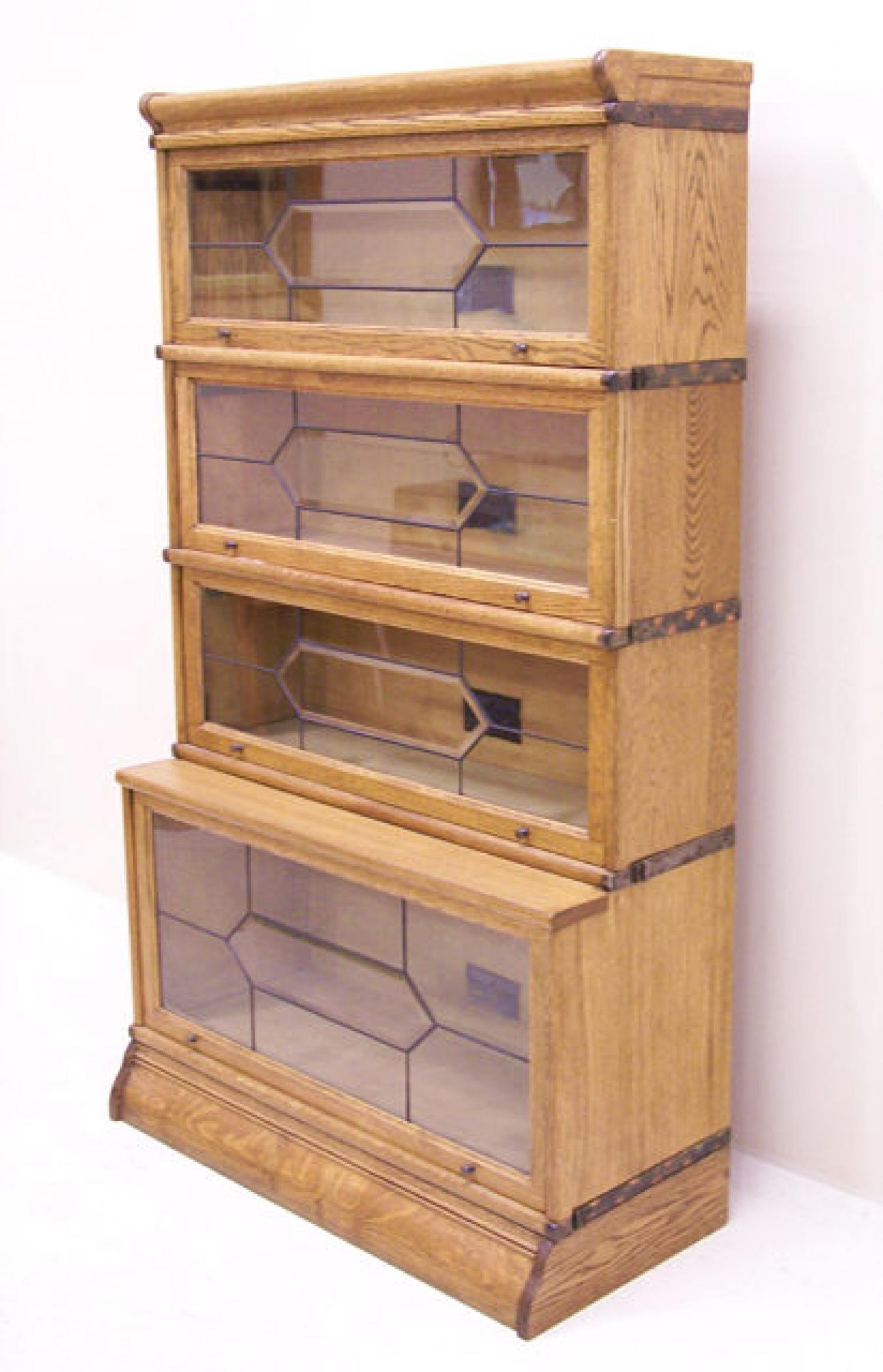 Macey Oak sectional stacking oak leaded door bookcase c1900