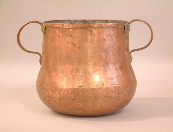 Early copper storage container with double handles c1700 to 1780