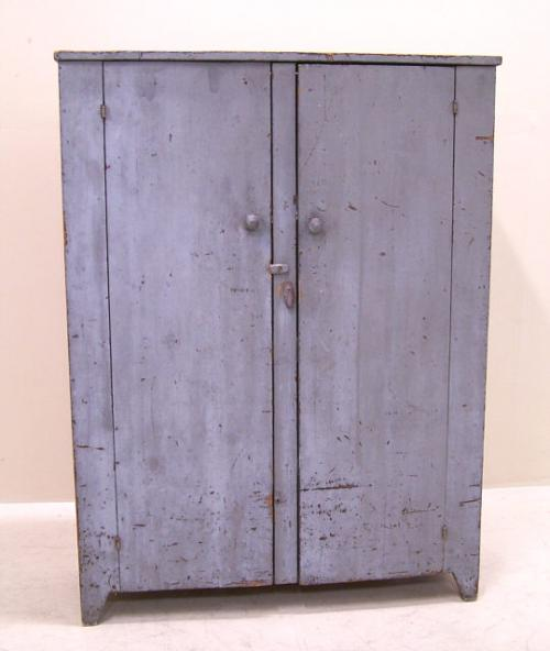 Early American country blue painted pine cupboard c1840