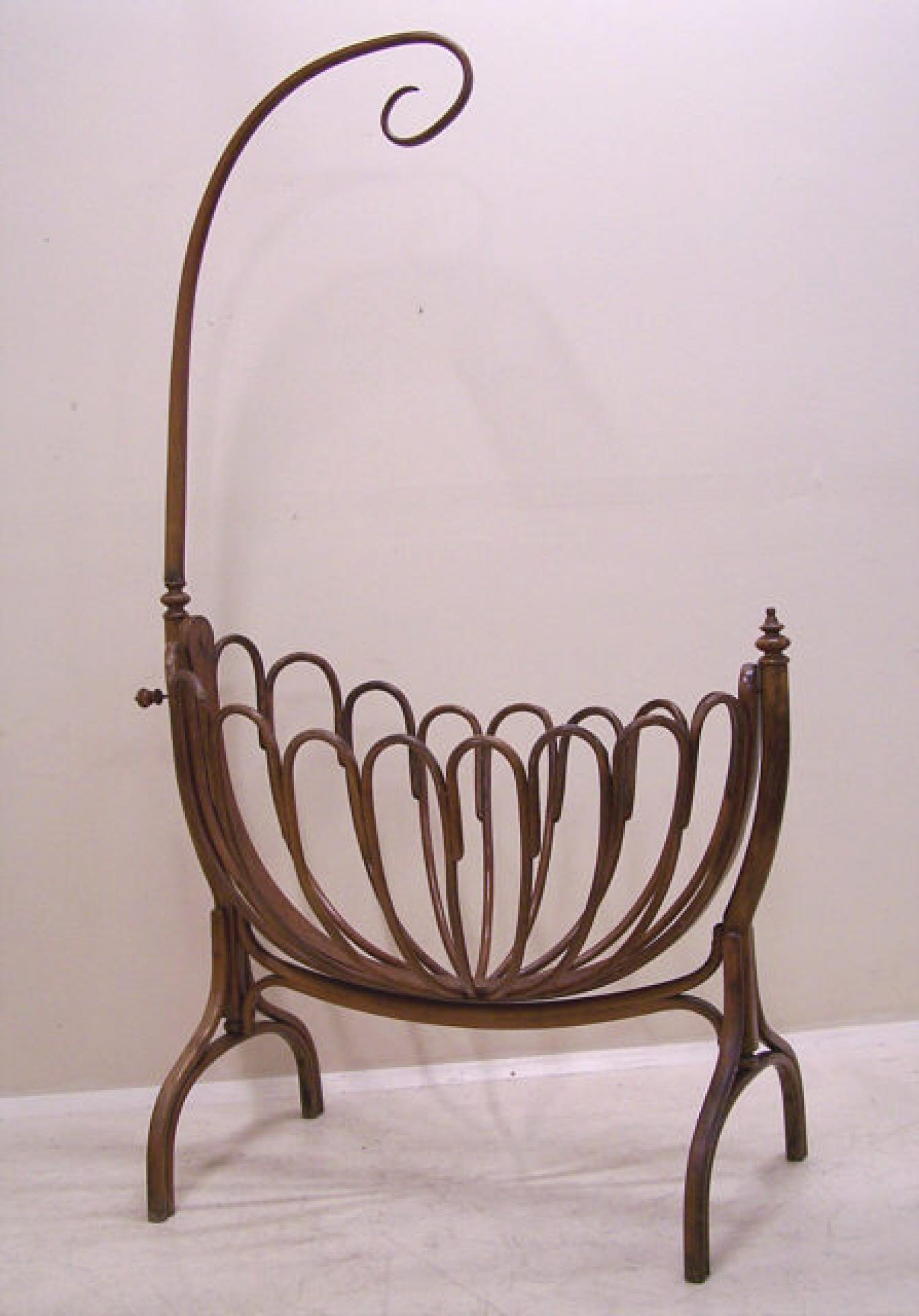 Antique Thonet bentwood baby Crib Kinderwiege c1900