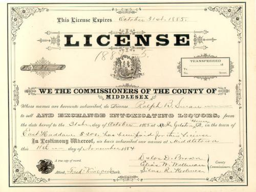 Liquor License Gelston House East Haddam C1884 to 1885
