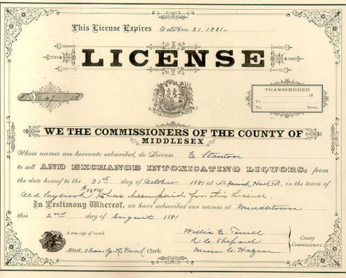 Liquor License Fenwick Hall Old Saybrook Conn 1881