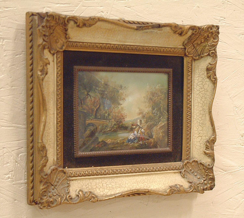 Miniature romantic European Landscape oil on copper painting