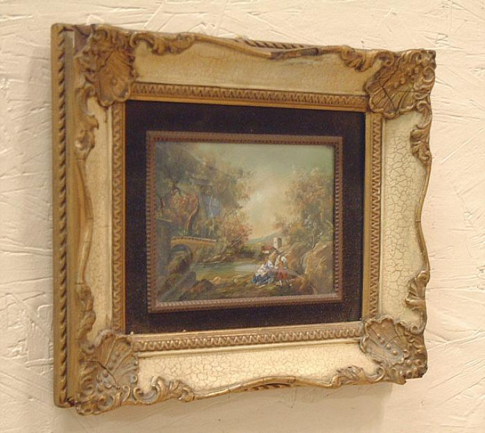 Miniature romantic European Landscape oil on copper painting