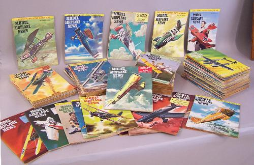 92 issues Model Airplane News magazine 1950-1959