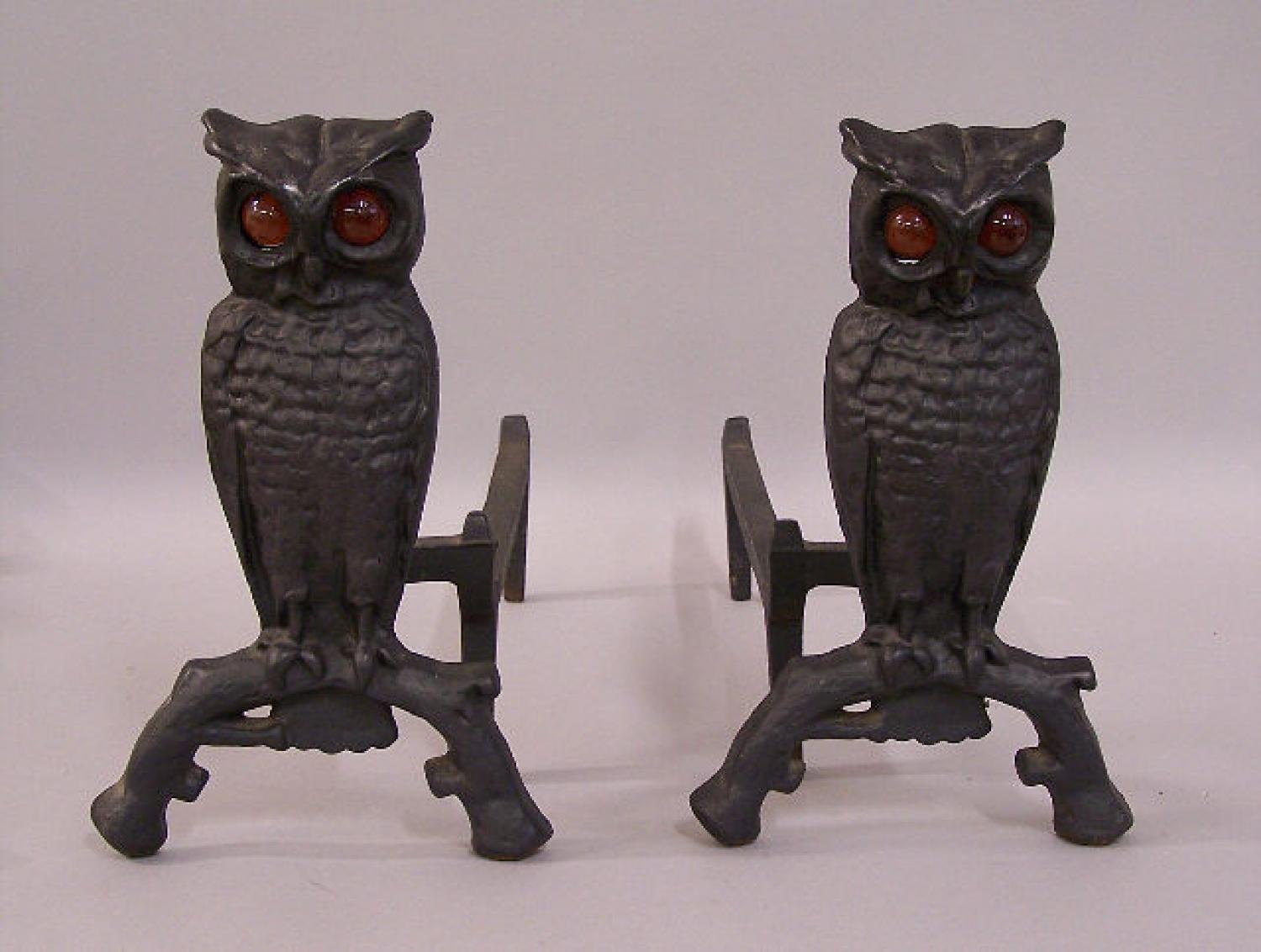 Victorian Cast Iron Owl fireplace andirons c1890