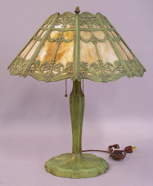 price my item value of victorian slag glass moss green table lamp c1920. Black Bedroom Furniture Sets. Home Design Ideas