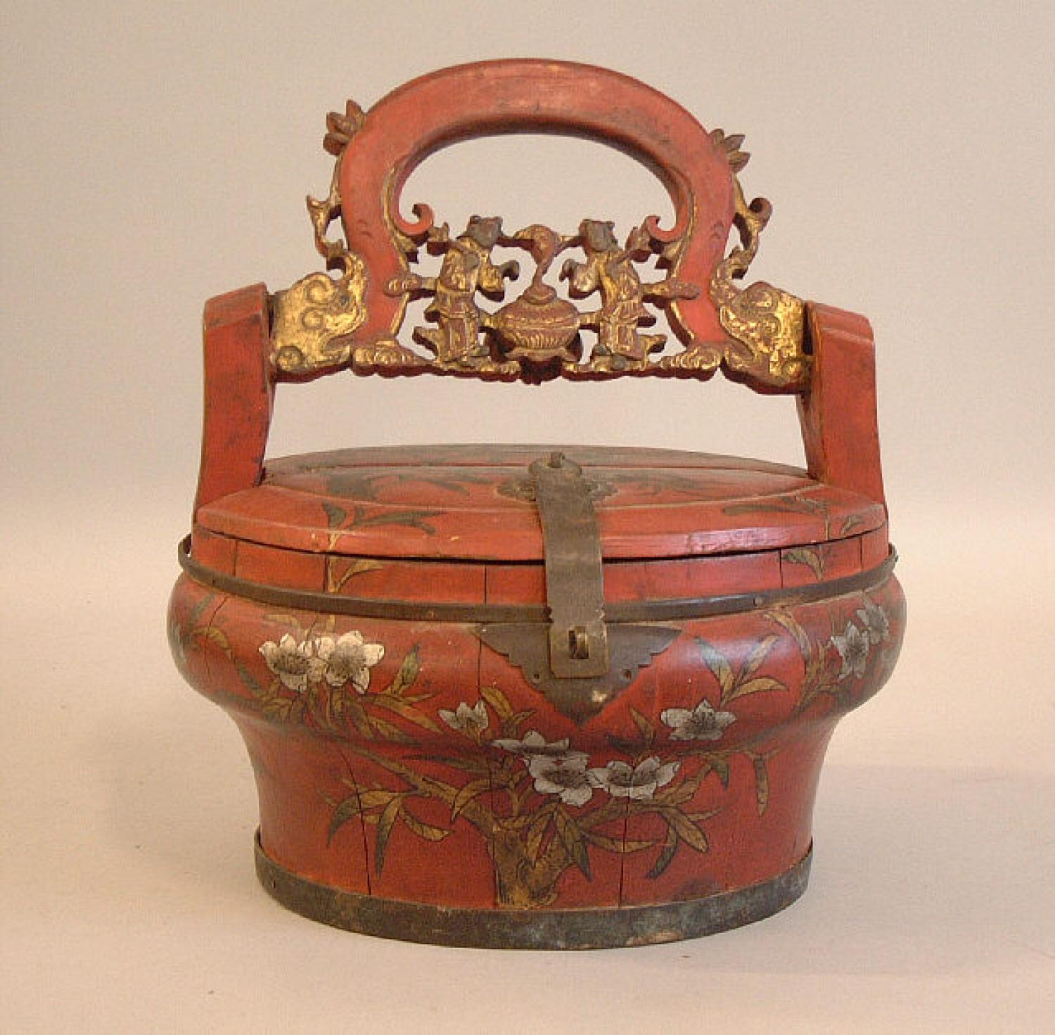 Chinese 19th c painted wood market box