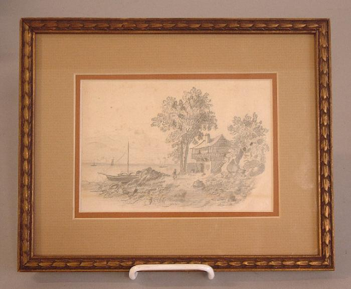 European pencil drawing of harbor and country side c1840