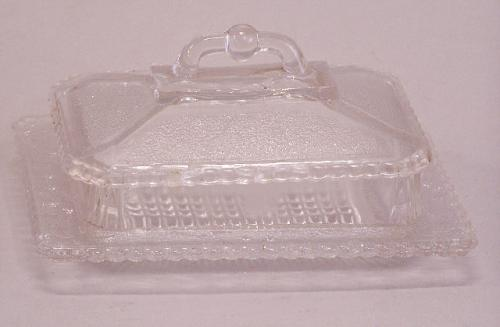 Pressed pattern Glass covered butter dish Canadian design