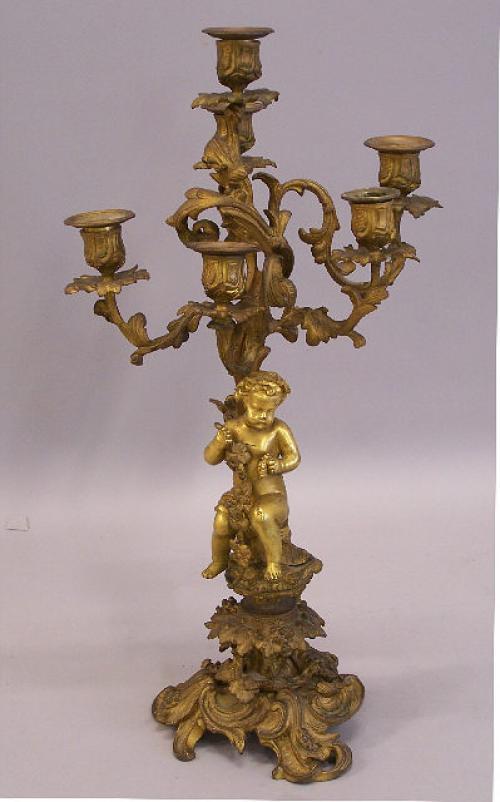 French gilt bronze cherub candelabra c1875