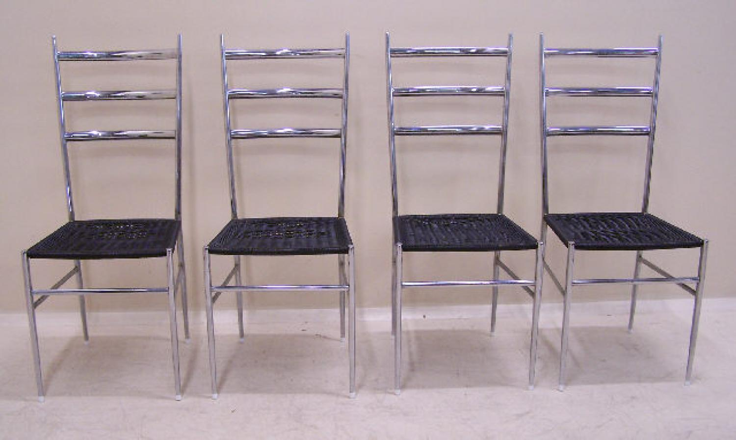 Gio Ponti polished chrome steel superleggera chairs c 1955 set of four