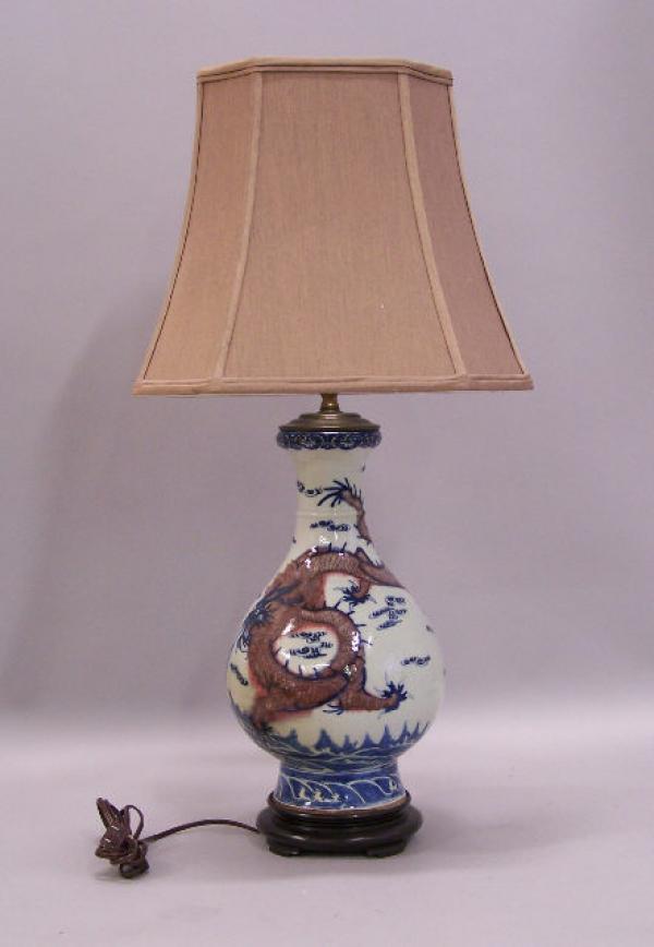 price my item value of chinese blue porcelain dragon lamp c1830. Black Bedroom Furniture Sets. Home Design Ideas