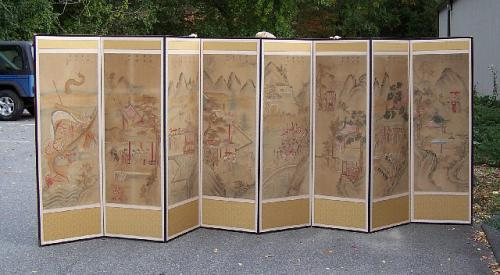 Korean 8 panel screen with Chinese 19th c. painted Mandarin scenes