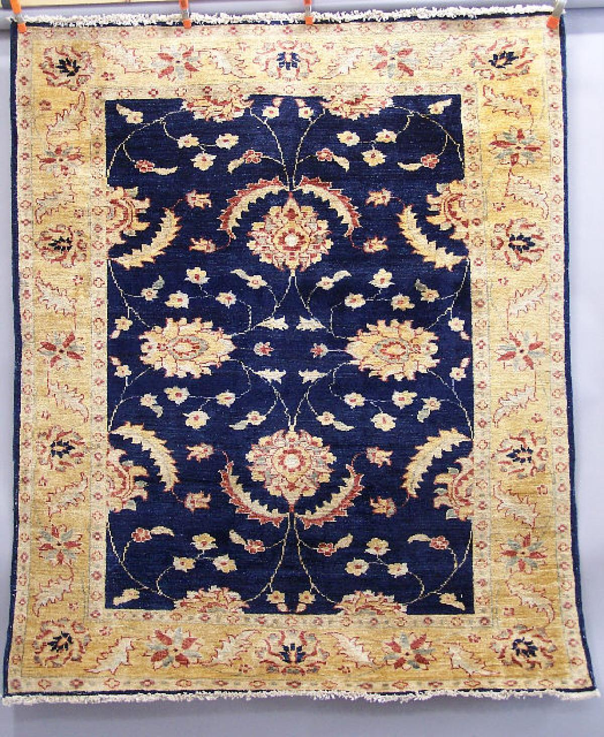 Afghanistan Chobi Rug Ink Blue Field With Peachy Gold Terra Cotta And Gray Allover Flora 6 5 X 3 This Was Purchased In About