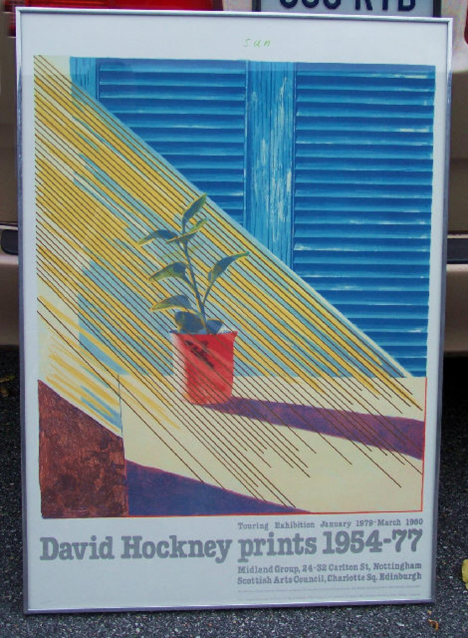 David Hockney print Sun for 1954  to 1977 exhibition poster 1979