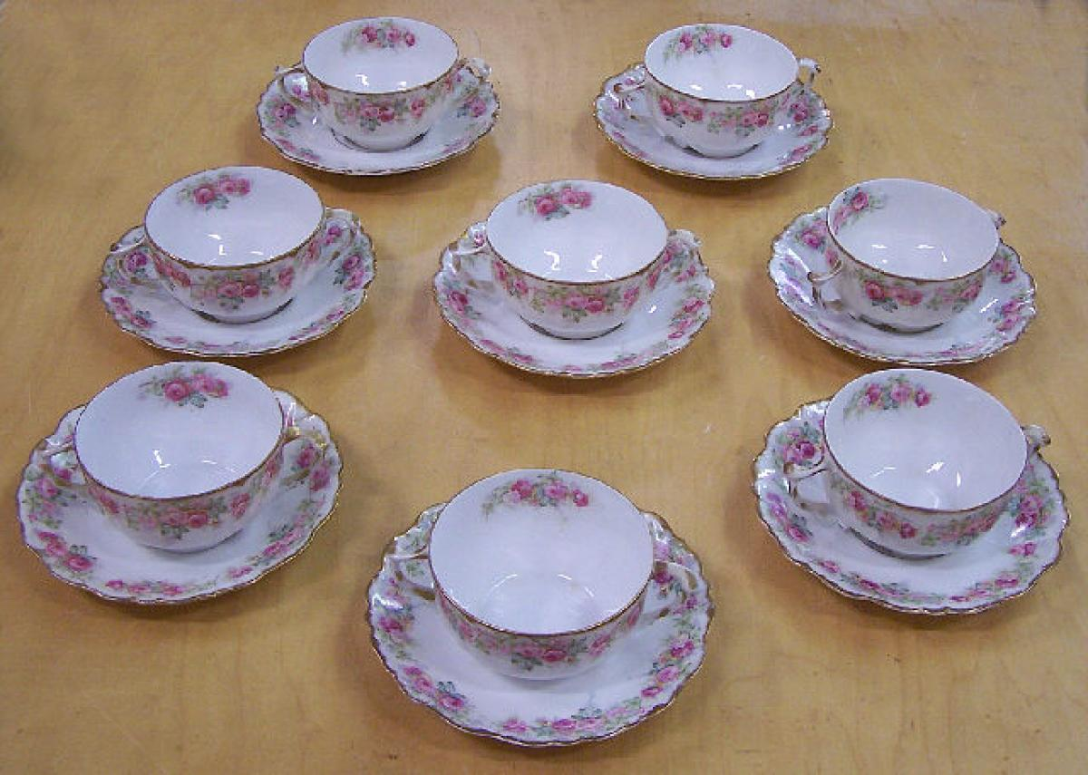 Limoges porcelain consomme cups and saucers