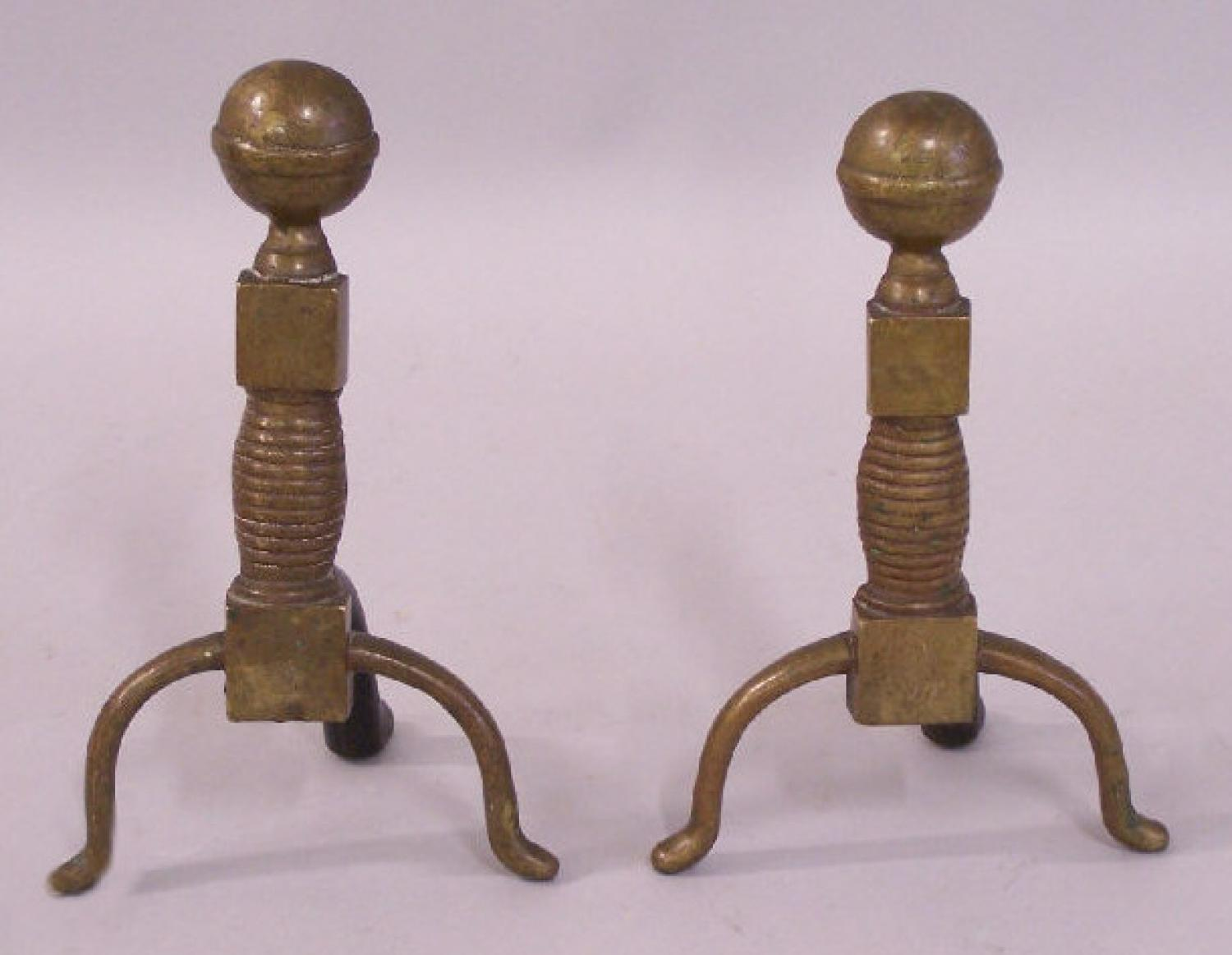 Antique diminutive solid brass andirons c1820 to 1840